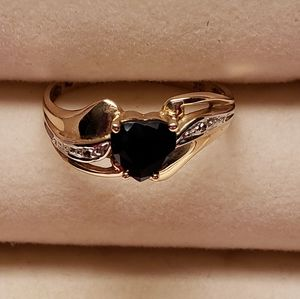 Heart Ring 10k Gold Lab-Created Sapphire & Diamond